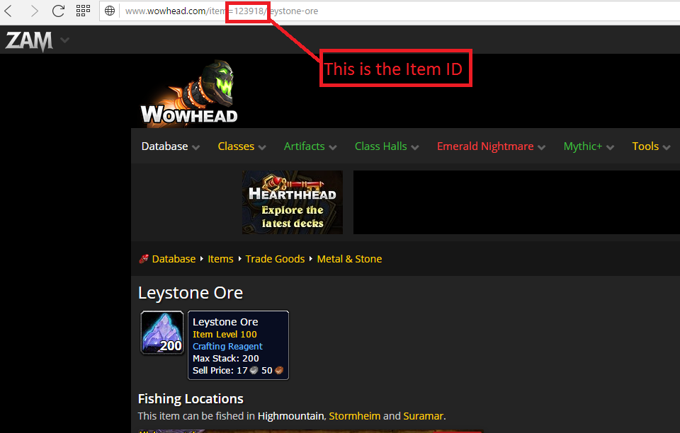 Finding the ITEM ID