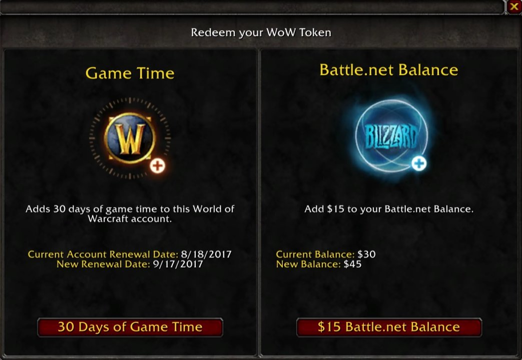 Wow token can be turned into battle.net balance