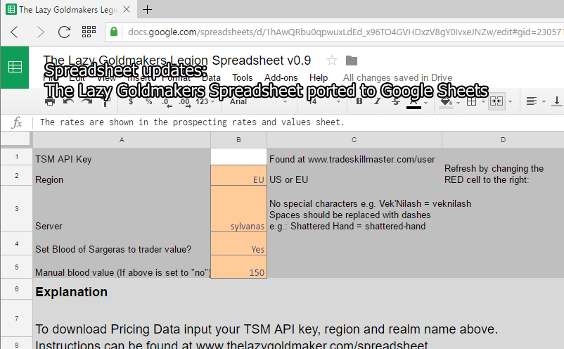 Google Sheets version of my spreadsheet is finished! - The Lazy