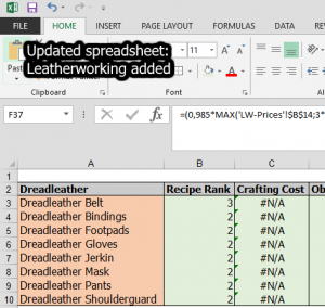 Leatherworking added to my Legion Spreadsheet
