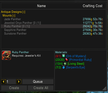 Making gold with Jewelcrafting Panthers: Expensive mounts