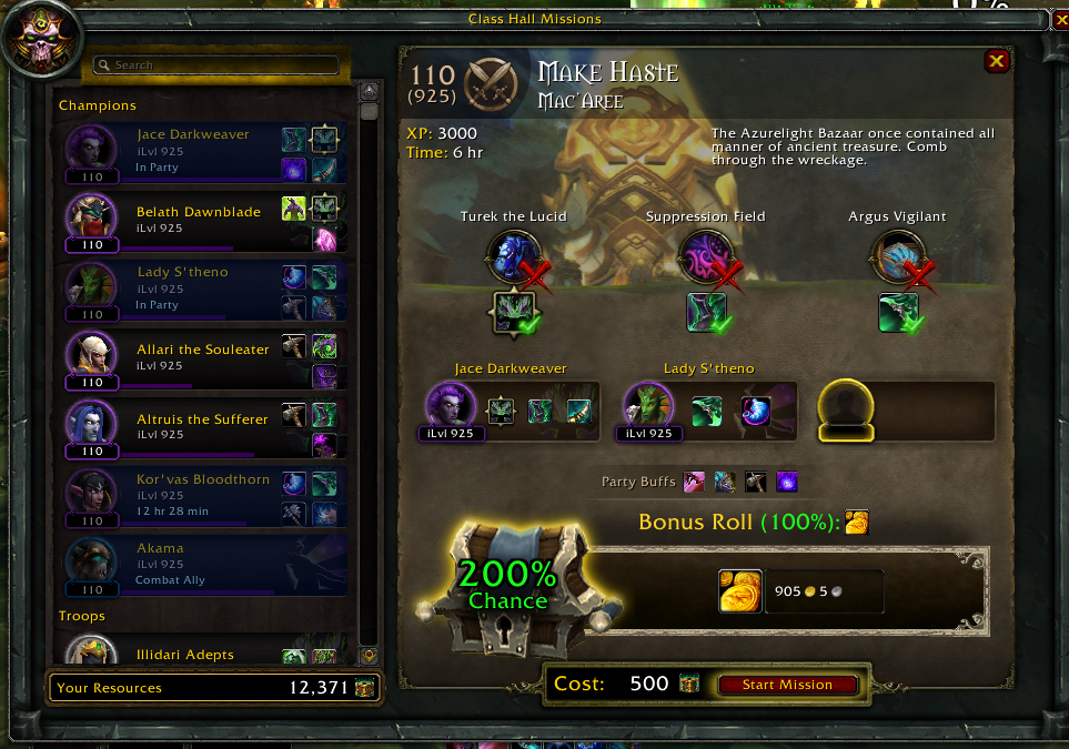 Order Hall gold Mission