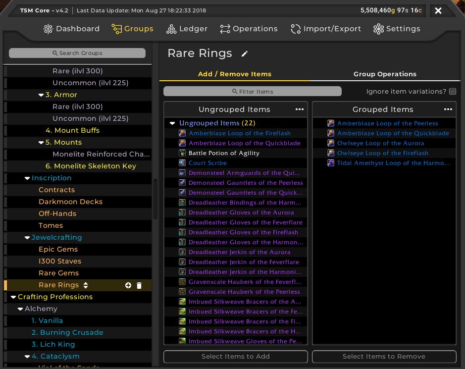Adding items to rare ring TSM group