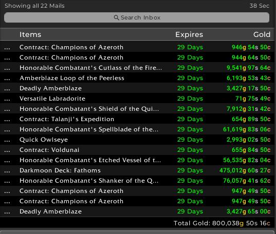 Mailbox of World of Warcraft Sales
