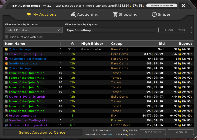 TSM4 AH My auctions UI