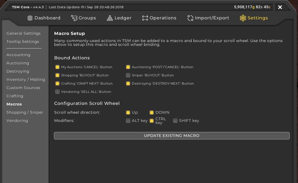 TSM4 macro setup