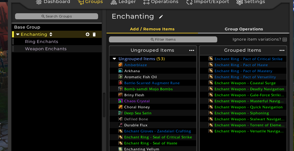 Finished enchanting group