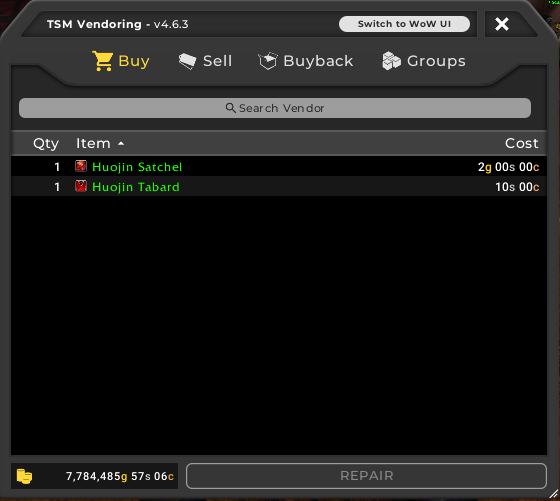 TSM4 vendoring UI Buy View