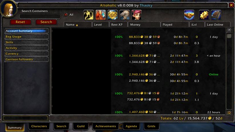 Altoholic UI screenshot
