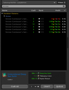 BfA Tailoring: Sinister combatant gear